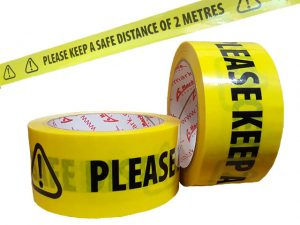 "10PTL0500032 | ""KEEP 2m DISTANCE"" FLOOR MARKING TAPE"
