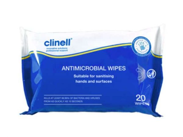 XXX124 | CLINELL Anti-Bacterial 20 Wipes 54pk