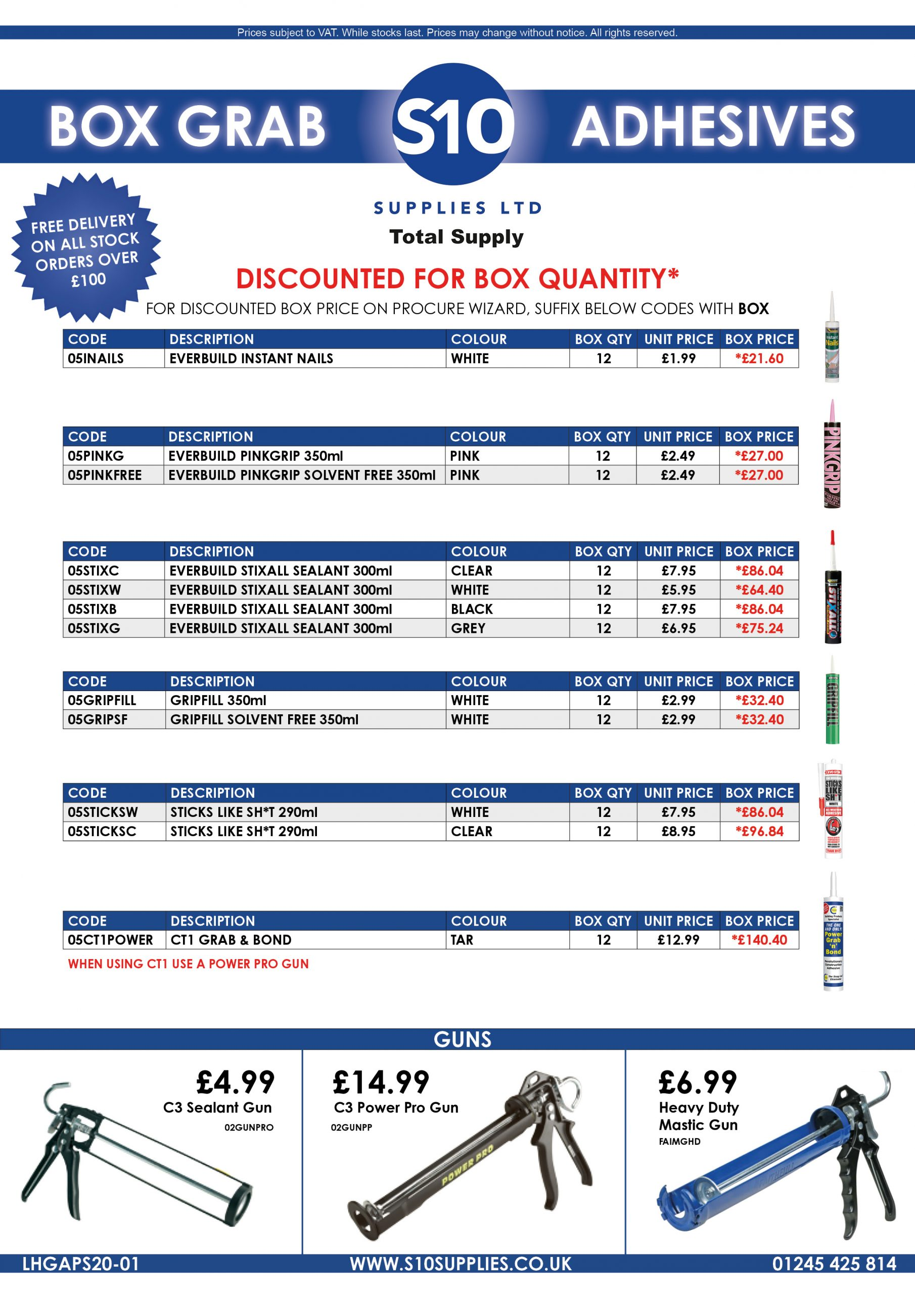 Product Sheet - Grab Adhesives Bulk Discount